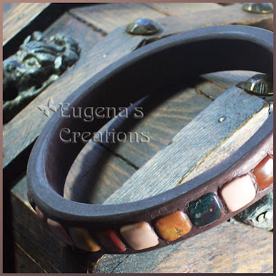 polymer clay and imperial jasper bracelet
