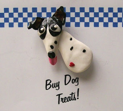 polymer clay, dog magnets