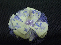 purple bead flower hair pin