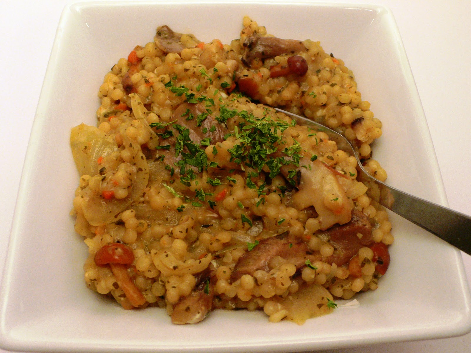 "The Mistress of Spices: Wild mushroom Israeli couscous ""risotto"""