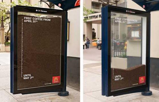 McDonald's free coffee creative bus stop advertisement