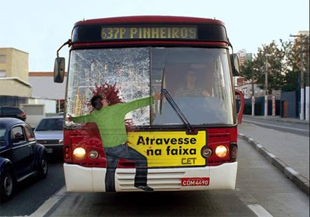 Road safety bus advertisement