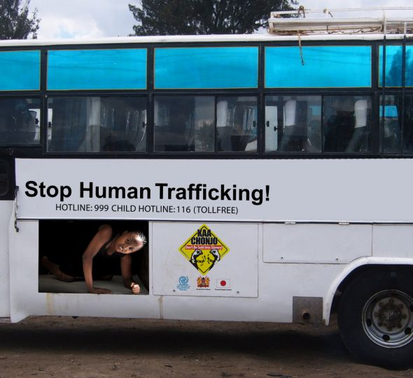 Stop human trafficking bus advertisement