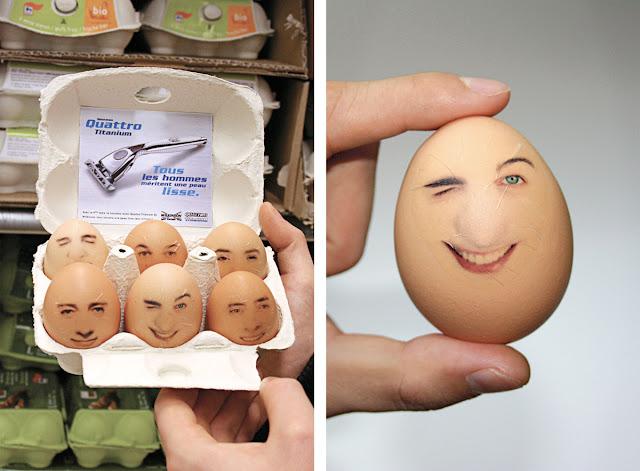 Wilkinson Quattro Titanium Eggs stickers advertising