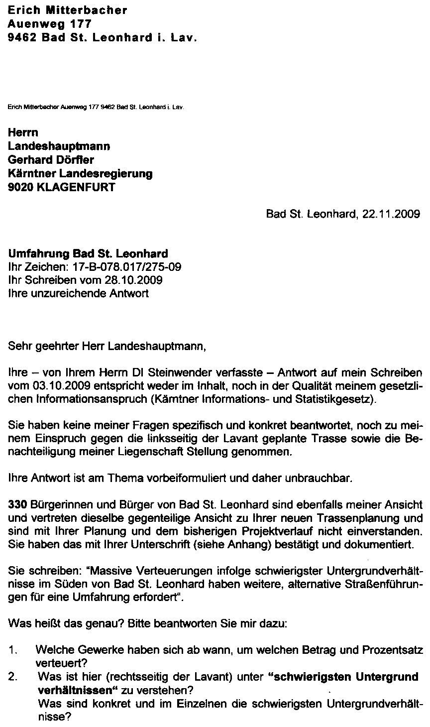 Bad St. Leonhard News vom Raunzer: November 2009