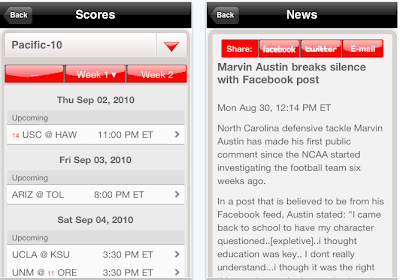 NCCA football news iPhone app