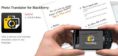 Photo Translator app for blackberry