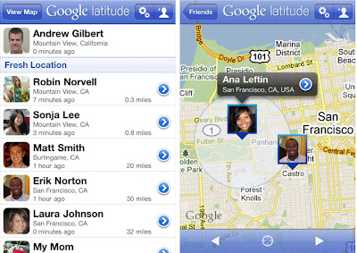 Google Latitude app for iPhone