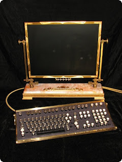 Steampunk LCD monitor and keyboard