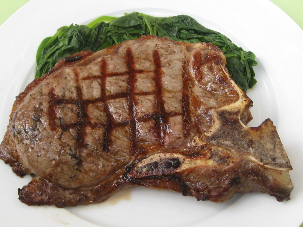 Grilled Porterhouse Steak with Spinach | Beachloverkitchen