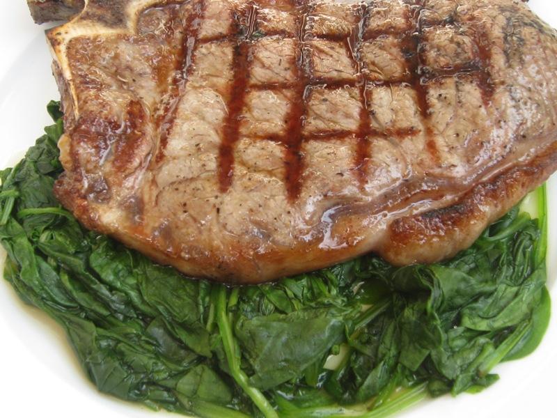Grilled Porterhouse Steak with Spinach | Beachloverkitchen