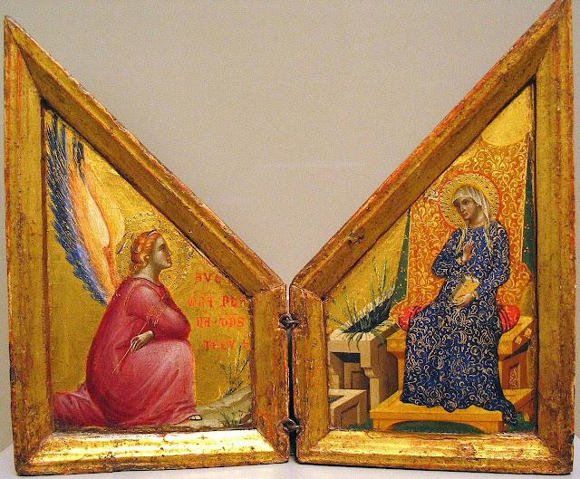 Anunciação. Paolo Veneziano (1333 - 1358). J. Paul Getty Museum, Los Angeles, EUA.