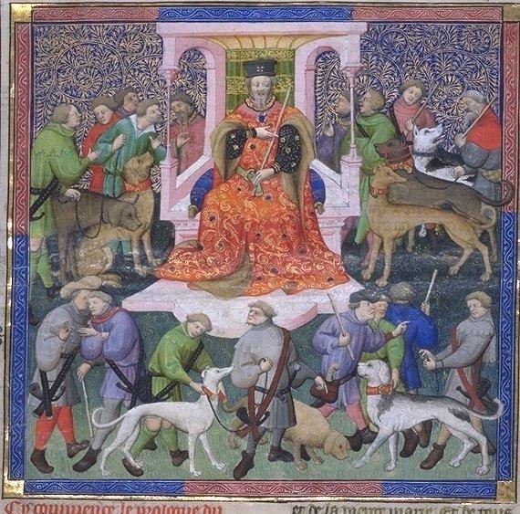 O conde Gaston Febus com caçadores. Livro da Caça, Biblioteca Nacional da França.