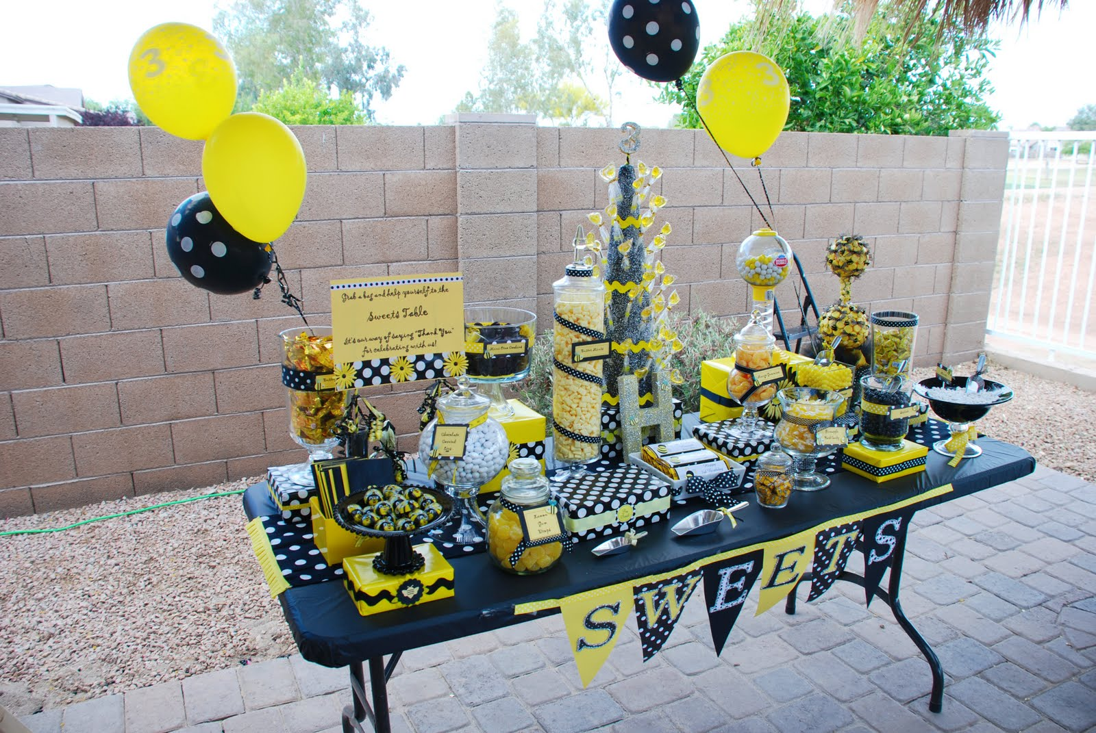 Its A Bumbe Bee Birthday Party For Sweet Three Year Old Little Girl Yellow Black And White Decor Make This Bumble Adorable