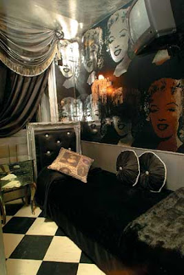 Monochromatic teen room with a Marilyn Monroe theme.