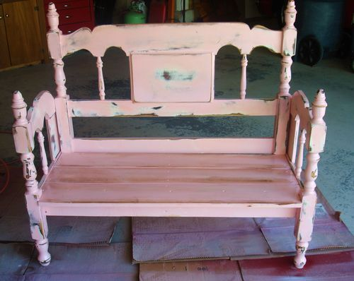 Old Bed Frames into Benches 500 x 398