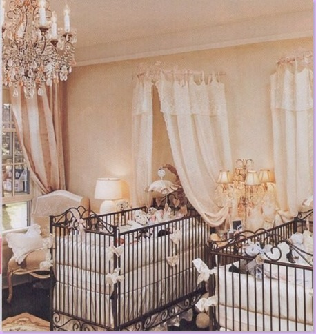 Jennifer Lopez boy/girl twins baby nursery is decorated in soft neutrals.