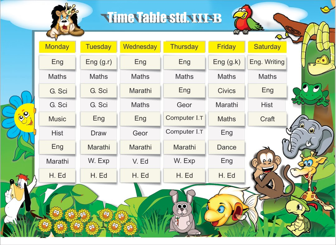 sunita children timetable design