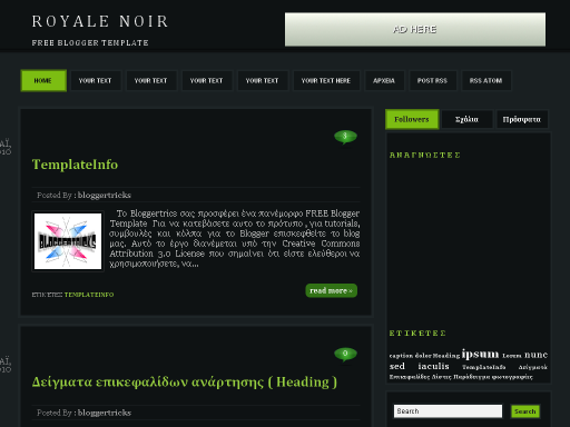 Royale Noir Blogger template