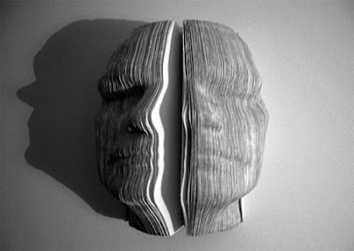 Sculptures of book face