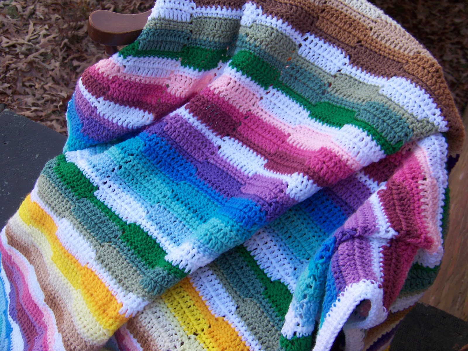 Free Crochet Patterns Using Ribbon Yarn : Stash Busting 2011: Ribbon Afghan Finished