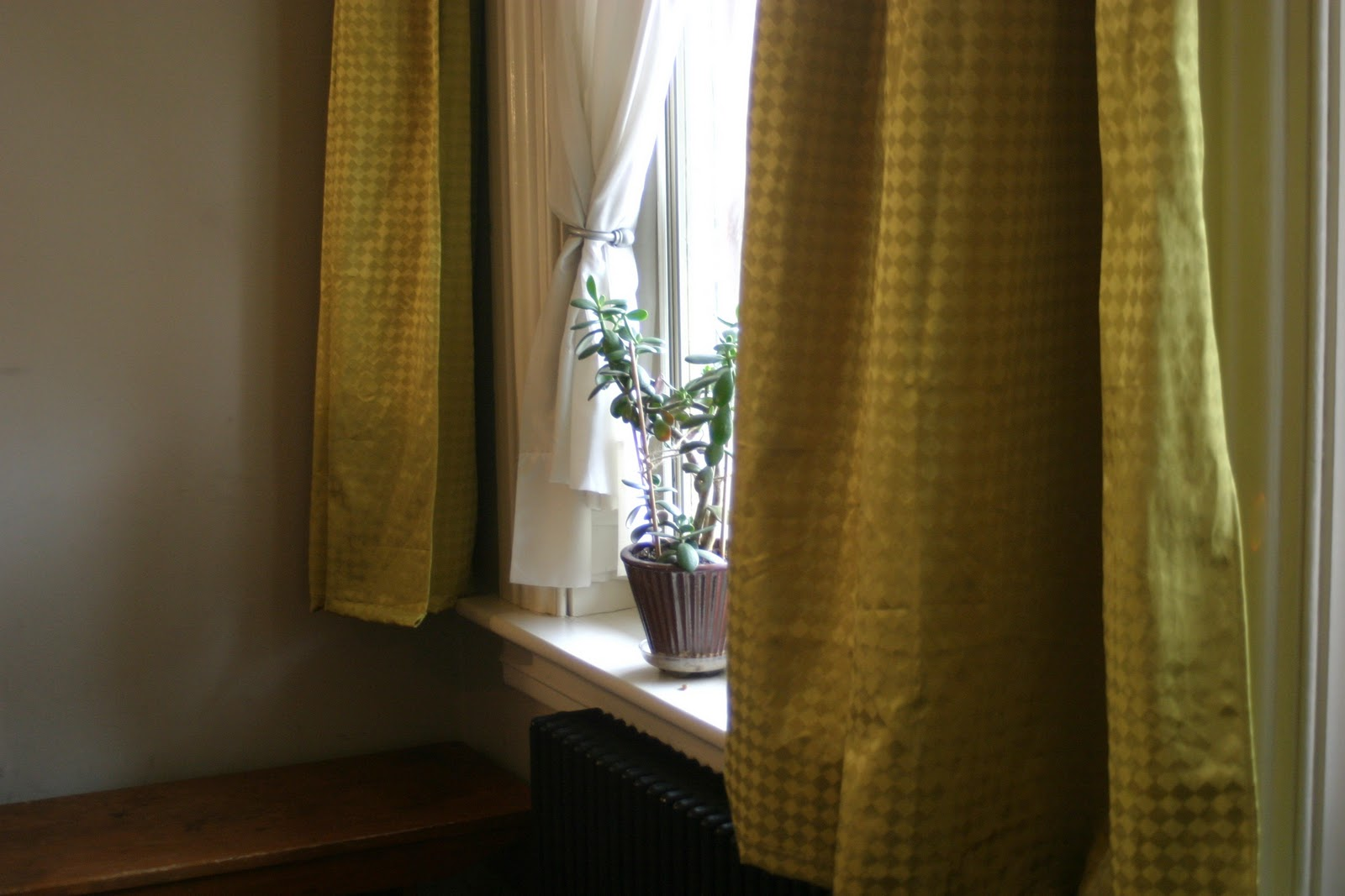 Thrift At Home Chartreuse Drapes Finally