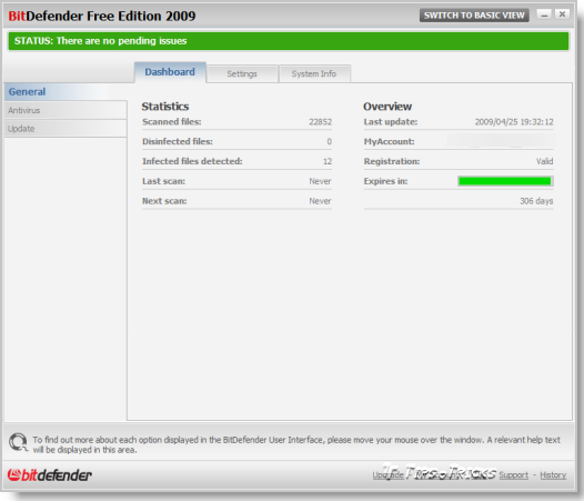 BitDefender Antivirus 2009 FREE Edition - Advance View Screenshot