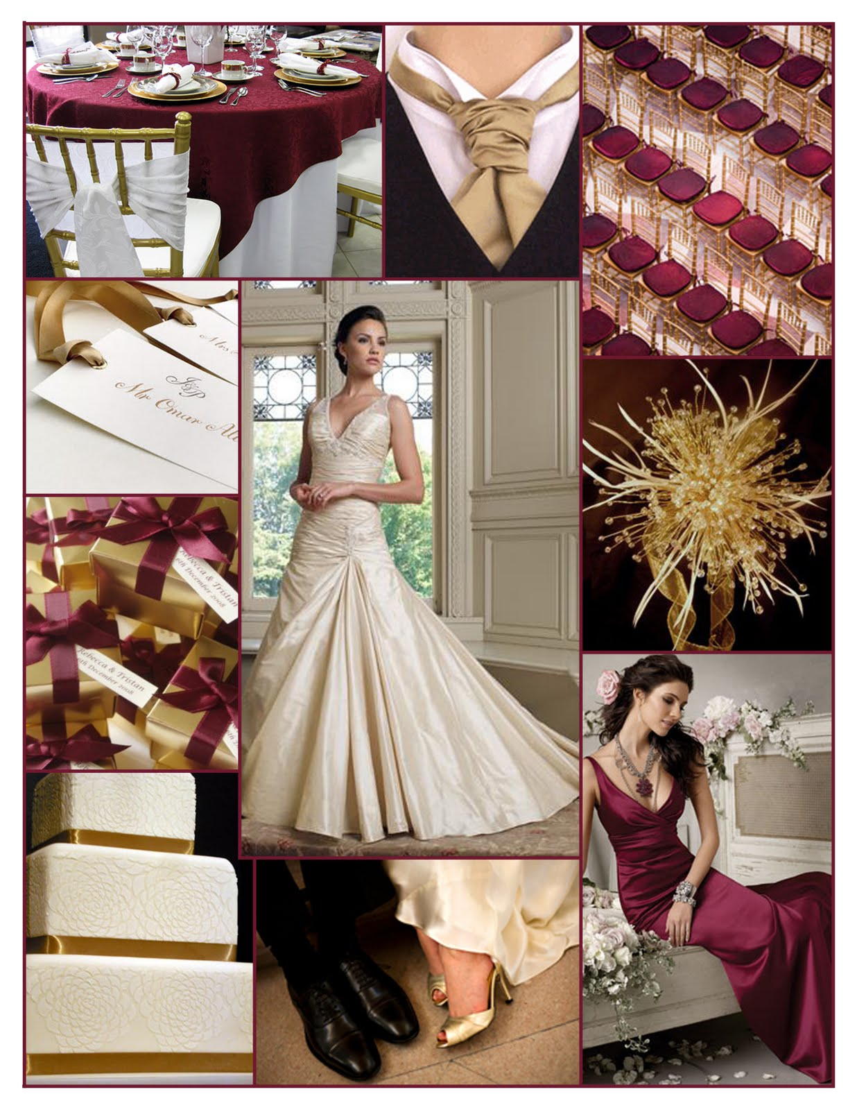 Burgandy black gold ideas inspirations reception for Burgundy and gold wedding dress