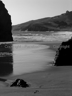 black white beach pacific coast, california