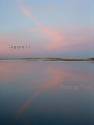 blue pink sunset reflection cape cod Massachusetts beach