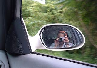 portrait car window mirror with camera