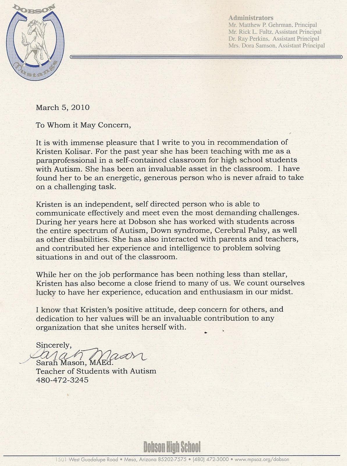 internship reference letter