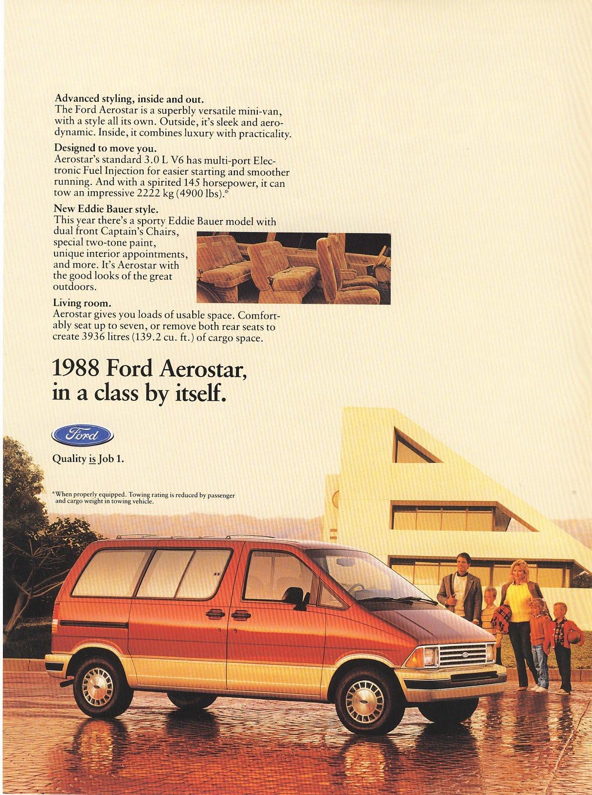 1988 - FORD AEROSTAR - Magazine Ad - FAMILY VAN - Photo | Old ...