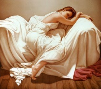 Sleeping woman, dressed in white