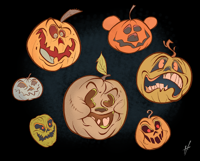 halloween pumpkins cartoon drawing