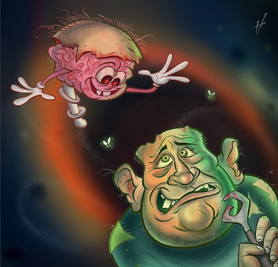 brain caricature | brainless man