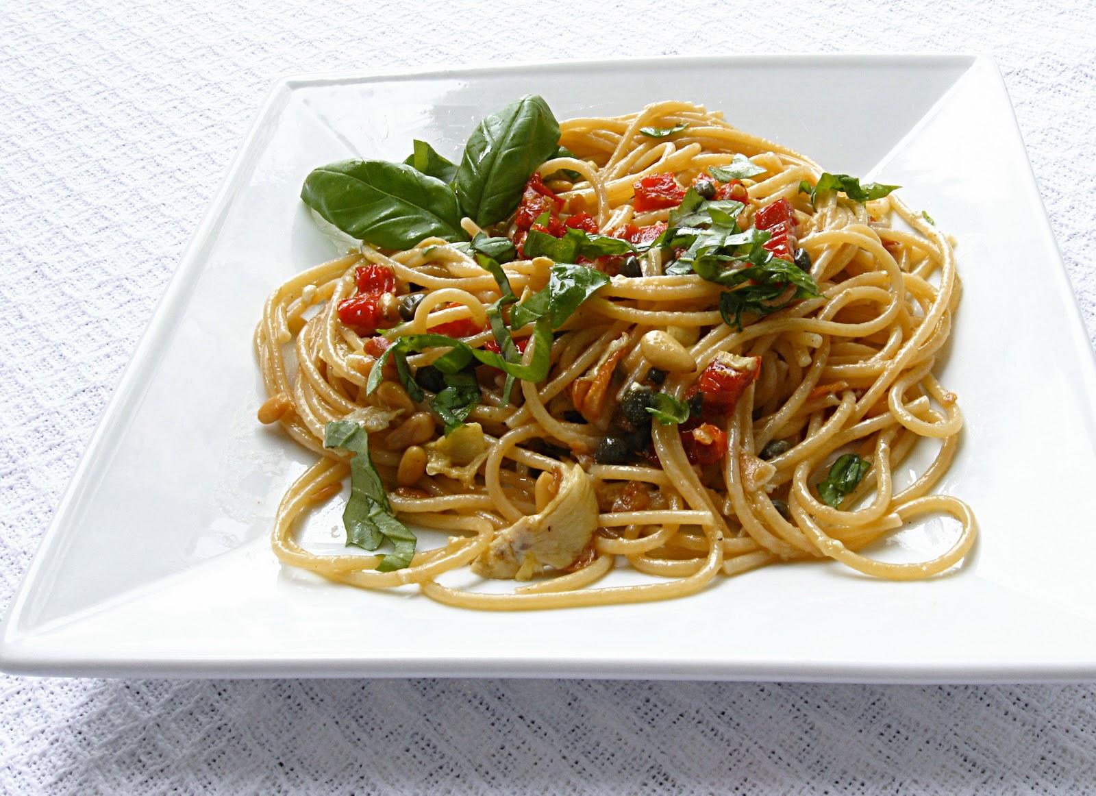 all that splatters pasta pomodoro with artichoke hearts