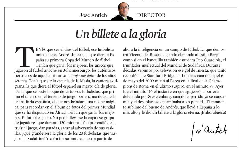 CARTA DEL DIRECTOR DE LA VANGUARDIA PARA ENMARCAR | Nacho Ayxelá