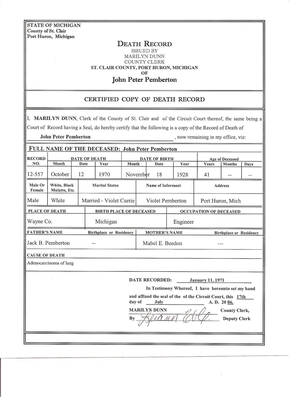 Death certificate template free blank death certificate template gebyur yadclub Choice Image
