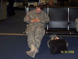 soldier sleep at airport uso 