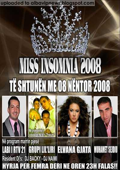 Insomnia Club Elvana Gjata Lir Liri Muhamet Sejdiu me 8 Nentor 2008