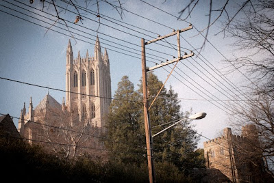 washington national cathedral with overhead wires
