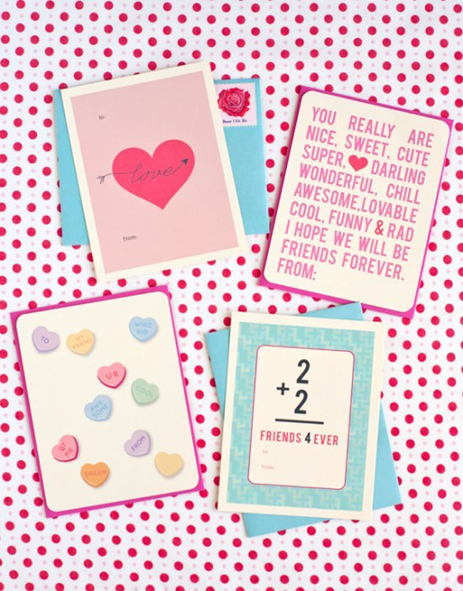 It is a photo of Clean Printable Valentine Cards for Classmates
