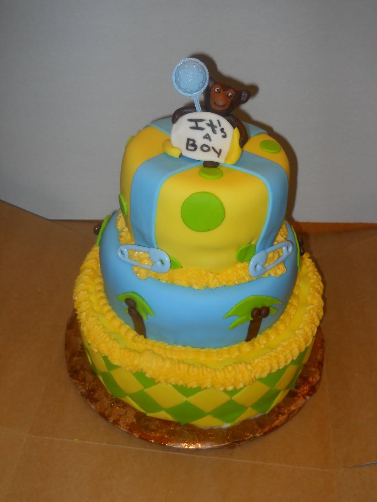 Cake lovers monkey baby shower boy - Monkey baby shower cakes for boys ...