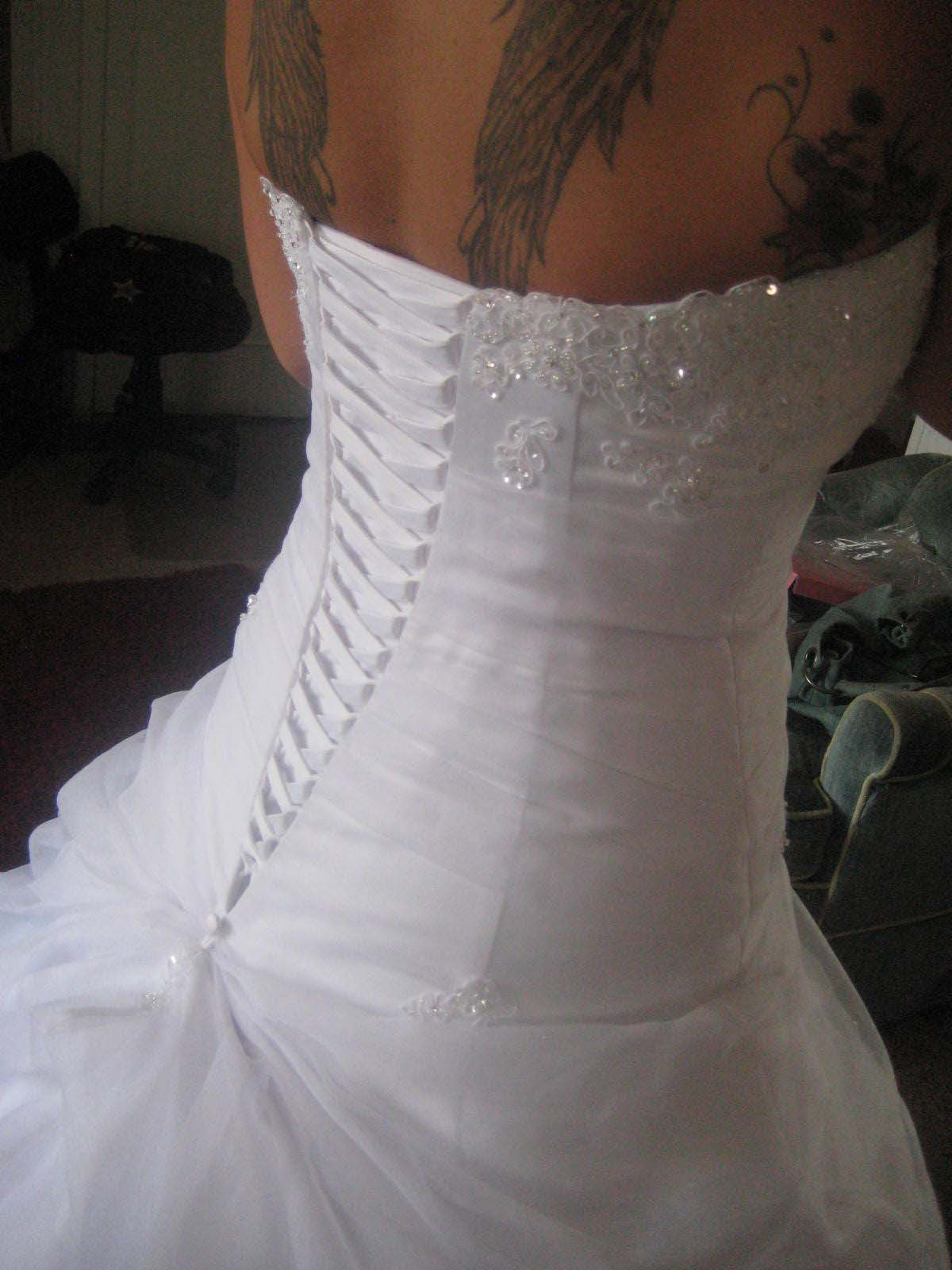 Black lace up wedding dress