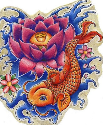 goldfish tattoo design. koi carp tattoo designs.