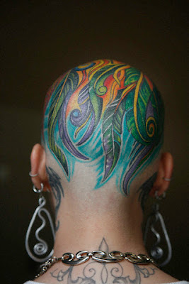 Colorful Feather Tattoos on the Head