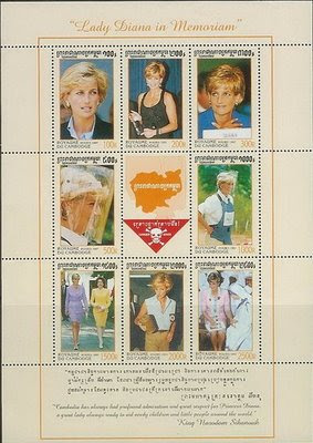 Cambodia philately bogus princess diana stamps