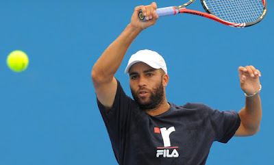 Black Tennis Pro's James Blake practicing for Australian Open