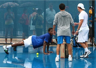 Black Tennis Pro's Gael Monfils in Brisbane